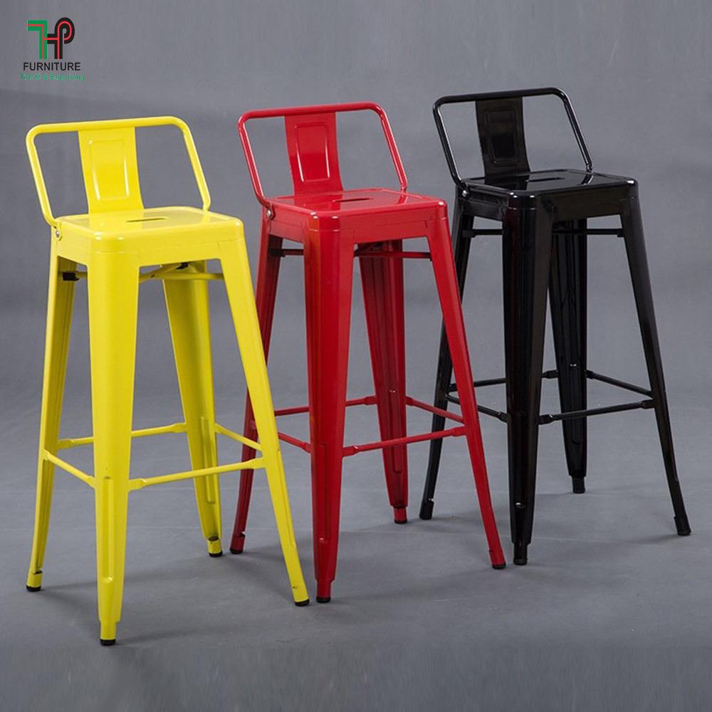 ghế bar tolix có tựa nhiều màu