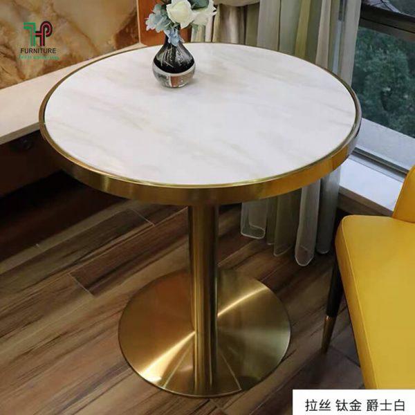 bàn tròn chân mạ vàng