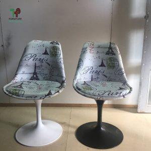 ghế nhựa có tựa lưng chân trụ